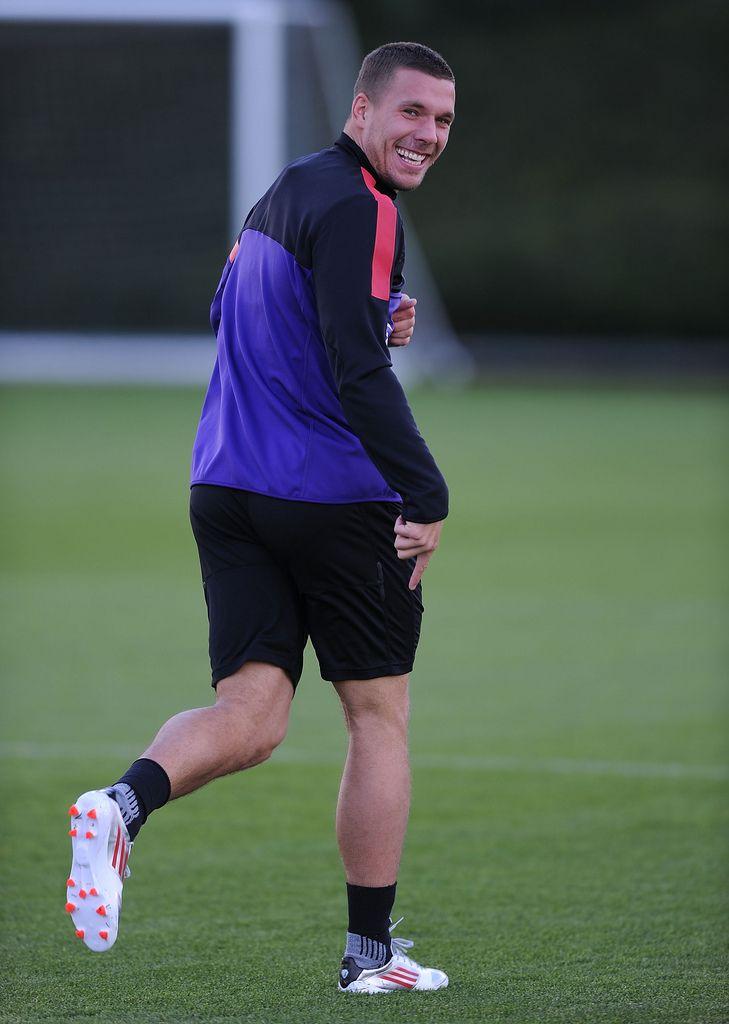 ST ALBANS, ENGLAND - NOVEMBER 02:  Lukas Podolski of Arsenal during a training session at London Colney on November 2, 2012 in St Albans, England.  (Photo by Stuart MacFarlane/Arsenal FC via Getty Images)