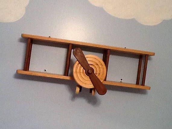 Avión de madera maciza estante madera pared biplano libro