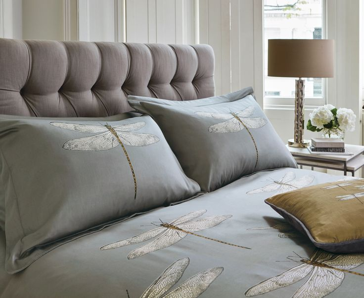 Harlequin Momentum Demoiselle head of bed with the printed/embroidered dragonfly cushion