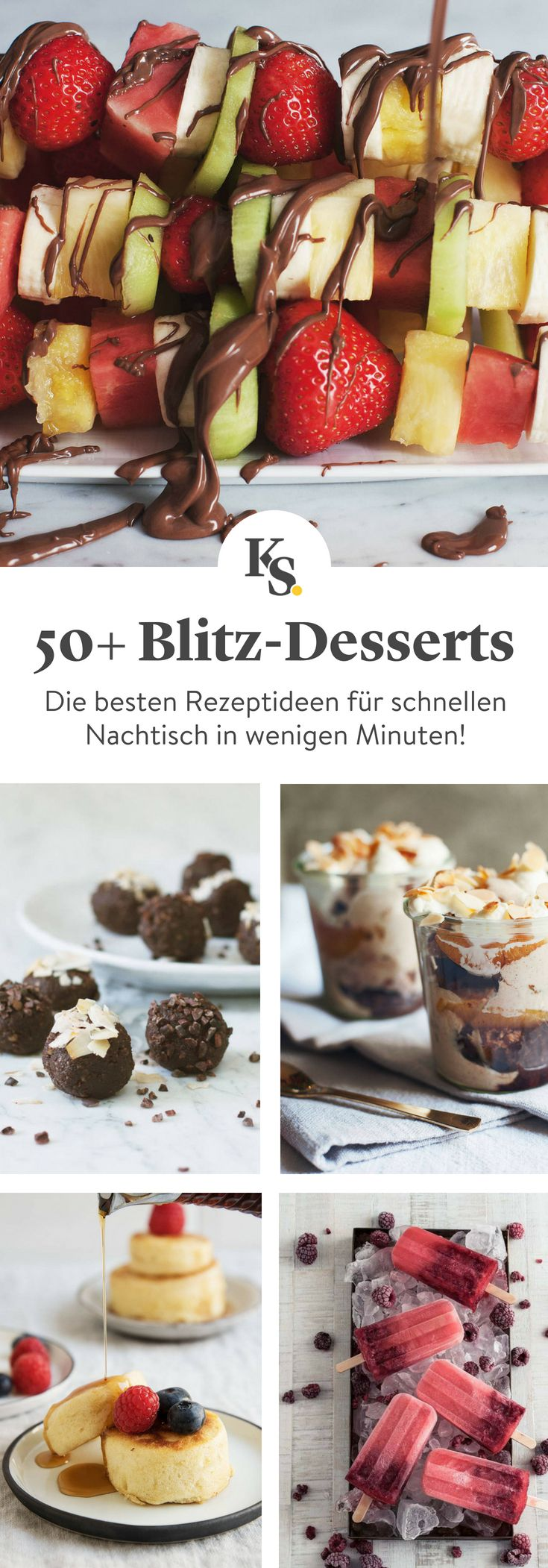 #Nachtisch geht ja bekanntlich immer – besonders wenn er so #schnell geht! Diese #Dessert Ideen sind nicht nur blitzschnell, sondern auch wahnsinnig lecker. Ob #Kuchen #Kekse #Pudding oder #Schokolad, bei dieser Auswahl wird garantiert jede Naschkatze fündig!
