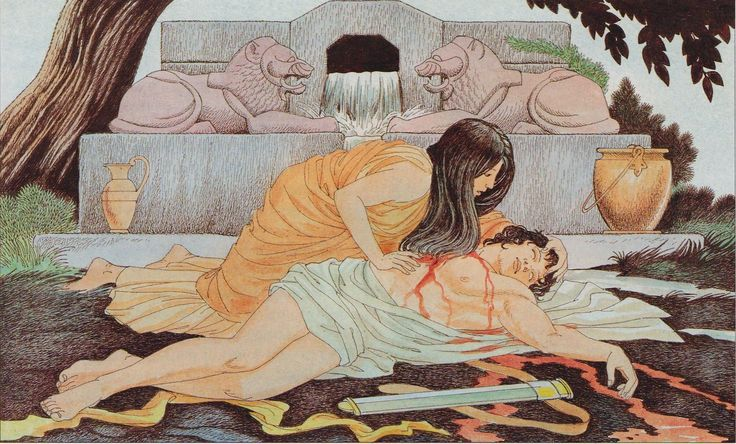 Pyramus And Thisbe by Giovanni Caselli (Ovid's Metamorphoses/ Babylon/ Mulberry/user:  Aethon)