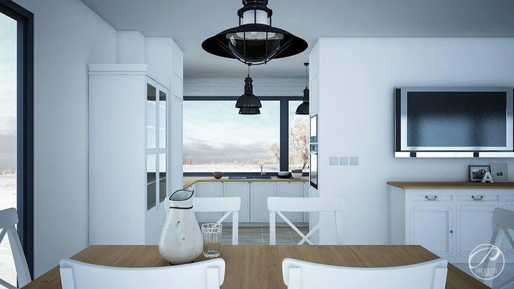 Dom w stylu skandynawskim Jadalnia, białe wnętrze, styl skandynawski. Progetti Architektura