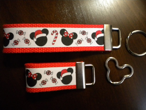 Holiday Mouse Key Fob Wristlet with Mouse Ring  by FEGiftsnMore, $5.50
