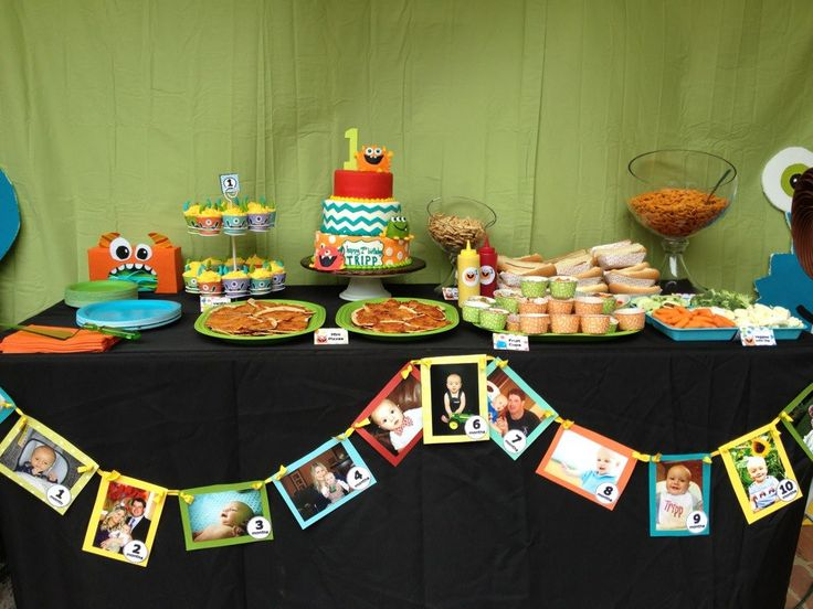 Food table with 1st year photo banner