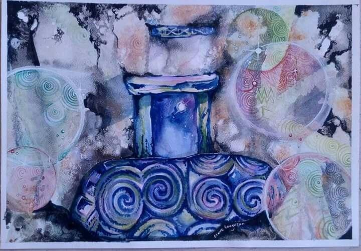 "Newgrange, Co. Meath, Ireland. ""Hidden"" Watercolour by Claire Loughran"