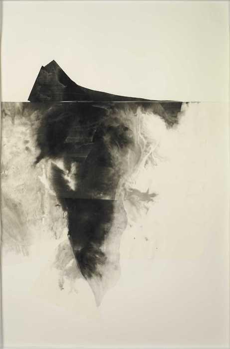 """Leslie Shows (b.1977, USA) - Black Iceberg No.1. Ink on paper, 25""""x38"""" (2008)  [more Leslie Shows]"""