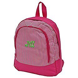 Childrens Personalized Water Resistant Backpack (14 inch - Personalized, Pink Stripe)