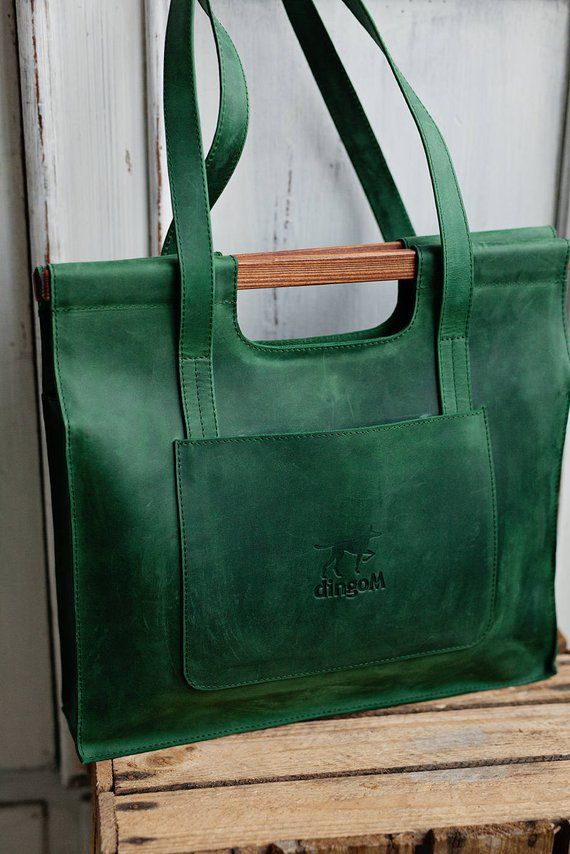 Green leather bag with wooden handles Leather tote bag Bag | Etsy