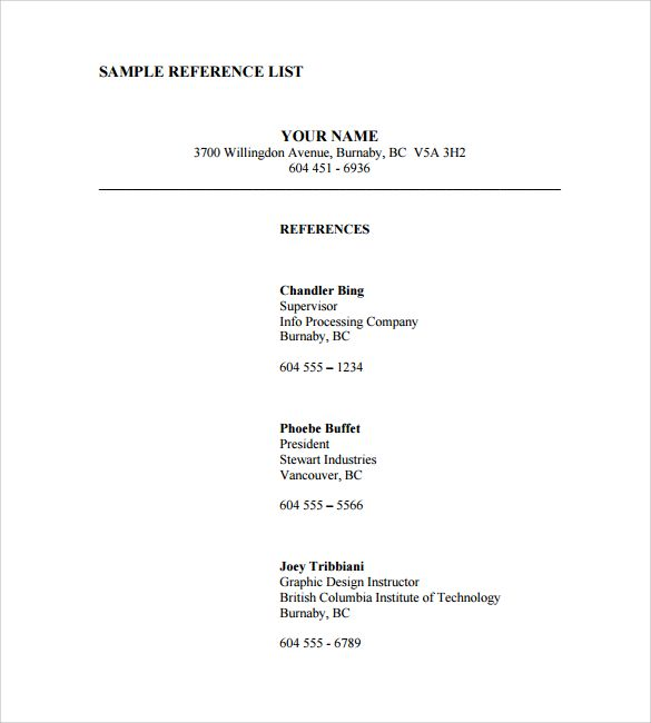 Best 3 Reference List Template Free Resume References