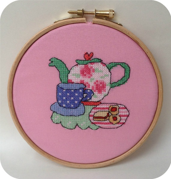 "Handmade cross stitched ""tea time"" wall art framed in 5 inch (12cm) wooden hoop great for home decor. ."