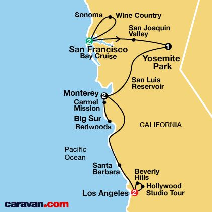 California Tour Map. Great route and highlights to base my own trip on. I would extended the northern portion and timeframe seeing more of the wine region