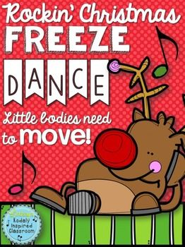 "Christmas Freeze Dance : ""Rockin' Christmas Freeze Dance"" 17 new poses added! (Need a fun movement activity to fill a few minutes of music or PE? Classroom teachers, are you looking for a Christmas themed brain break for your kids or a fun way to move and groove at your Christmas party?Try this Rockin' Christmas Freeze Dance!Find some rockin' Christmas music (suggestions included)."