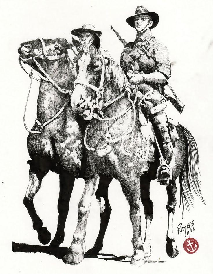 The Australian Light Horsemen from World War One.   (Artist:  Kevin Rogers)