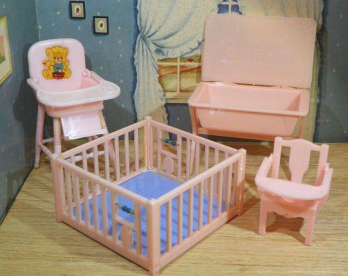 Renwal PINK BABY ROOM SET Vintage Miniature Tin  · Vintage DollhouseDollhouse  FurnitureRoom ...