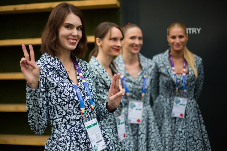 Beautiful Slovak pavilion guides at the opening of Slovak pavilion at the EXPO 2015. All the fabolous dresses were designed by the renowned Slovak fashion designer JANA GAVALCOVA.