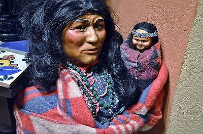 Spectacular Pair of Vintage Store Display Skookum Indian Dolls with Papoose 37 ""