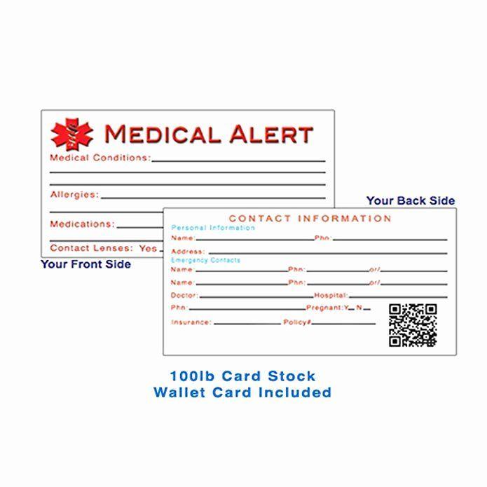 Medical Alert Card Template Best Of Medical Alert Wallet Card Template Gallery Template Medical Alert Medical Alert Necklace Medical Id Bracelets