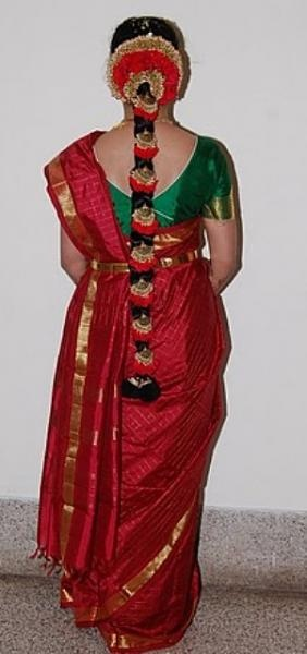 South Indian Bridal Hair Style - red and gold