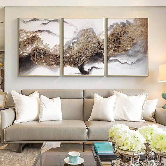 3 Pieces Wall Art Gold Line Original Cloud Acrylic Painting Etsy 3 Piece Wall Art Abstract Painting Abstract Art Painting