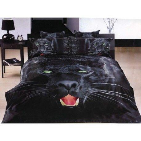 """Luxus Style """"BLACK-PANTHER"""" 3D Bettwäsche 5-Tlg 160x220cm 100%Baumwolle-Satin Bettbezüge"""