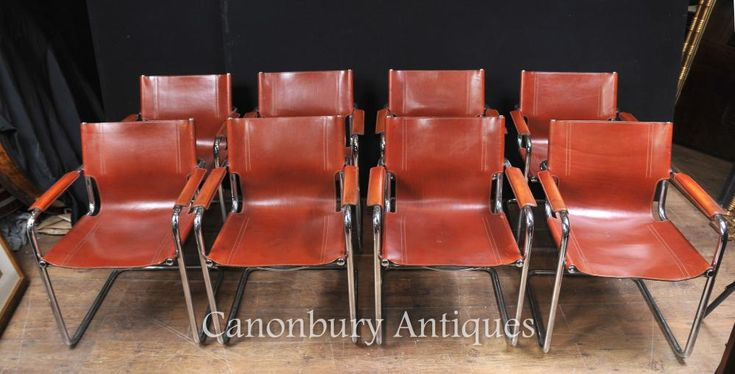- Classic set of 8 Italian Mateo Grassi dining chairs<br /> - Great look to this fab set that consists of 8 arm chairs<br /> - Leather is hand stitched and in great condition, sitting on chrome frame<br /> - Very comfortable to sit in, this is a high design set<br /> - Purchased from a private house sale in south Wales<br /> - Offered in great condition, ready for home use right away<br /> - Viewings available - please let us know if you'd like to view in our Hertfordshire showroom<br…