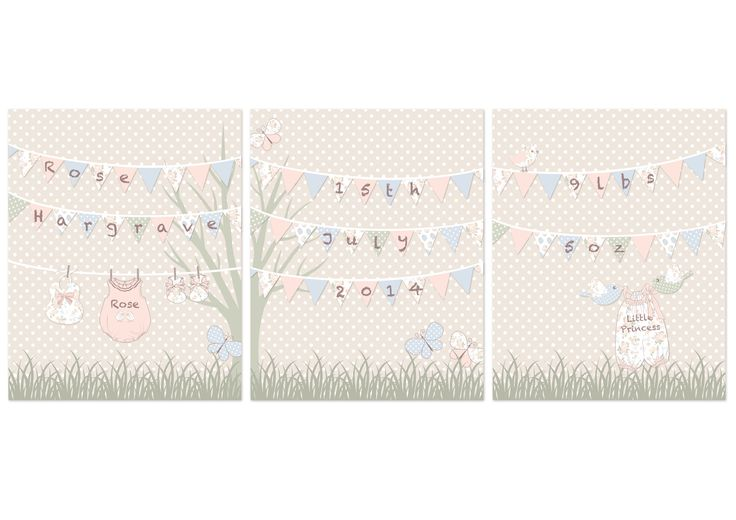 Adorable set of 3 personlised prints