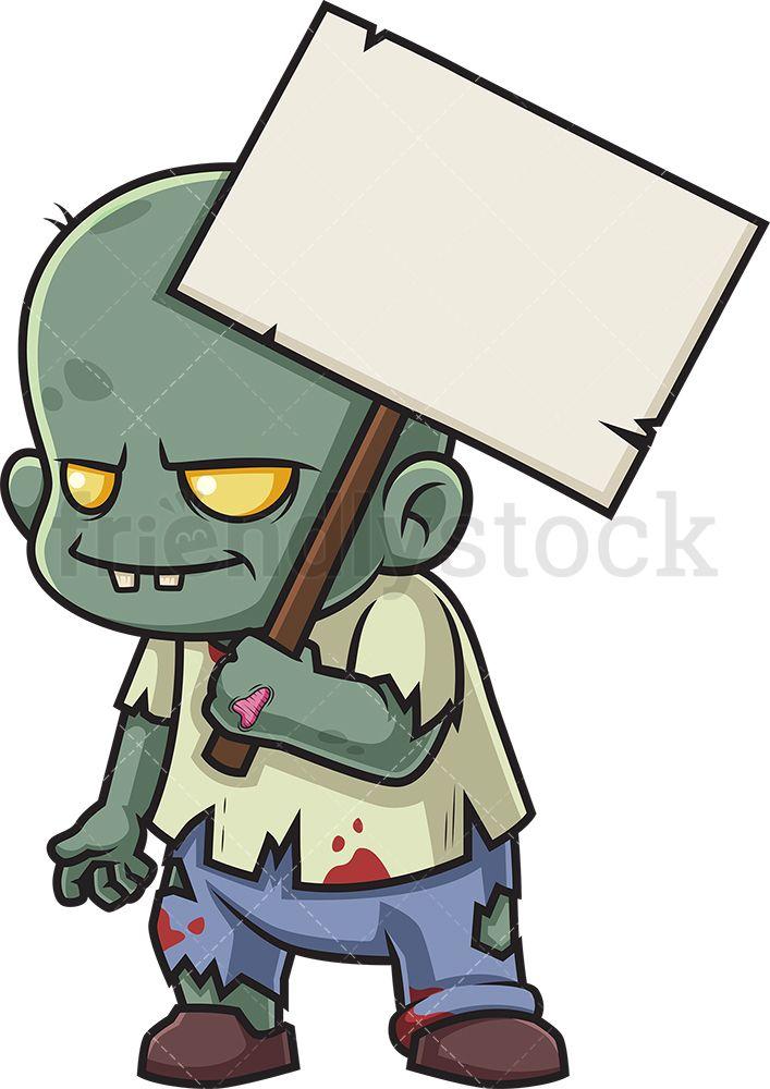Zombie Holding Blank Sign Cartoon Clipart Vector Friendlystock Cartoon Clip Art Zombie Illustration Cute Zombie