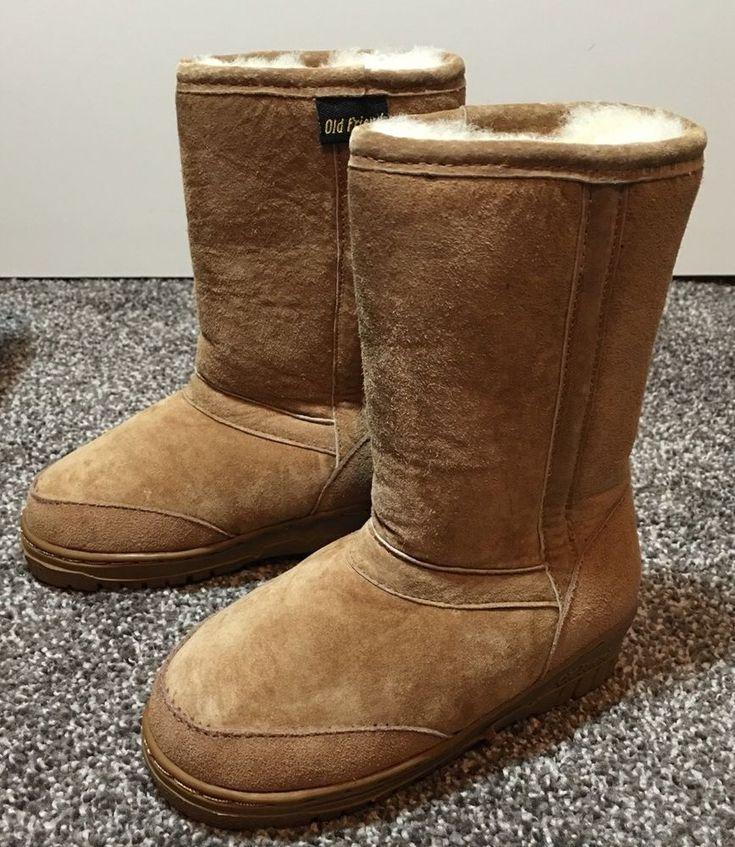 NIB Old Friend Sheep Leather Toddler Winter Boots Sz 8 Tan Snow New Boys Girls  | eBay