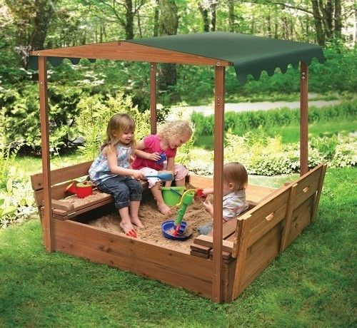 playhouse sandbox with rolling cover & pavilion sandbox 1