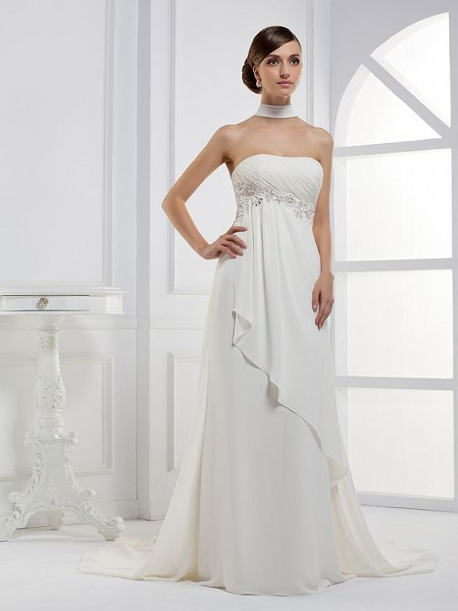 Strapless A-line Chiffon over Satin wedding dress