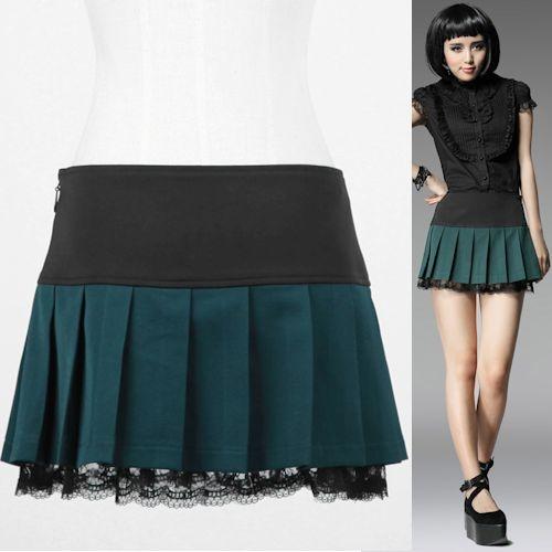 Cute Green Pleated Short Mini Gothic Lolita Burlesque Clothing Skirts SKU-11406269
