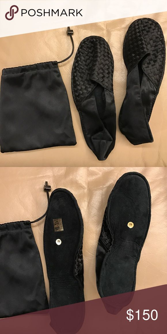 Bottega Veneta Travel Slippers BRAND NEW! Suede and woven fabric travel slippers in classic black with pouch/case Bottega Veneta Shoes Slippers