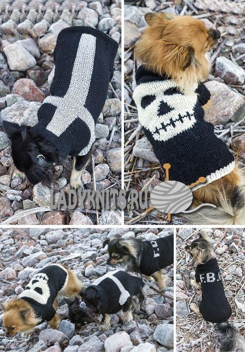 Вязаные спицами свитера для маленьких собачек