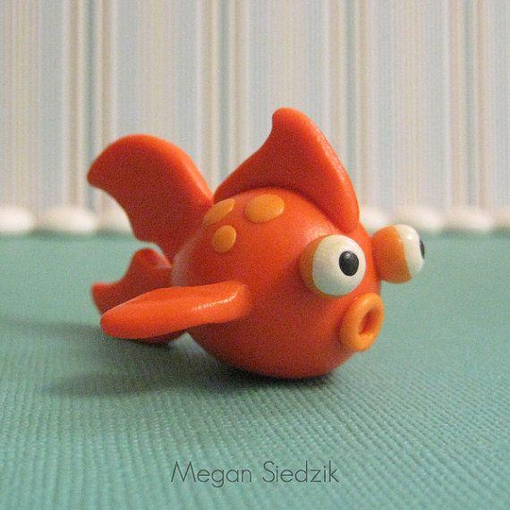 Orange Goldfish Figurine Miniature Sculpture Polymer Clay Animal
