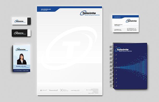 Diseño Papelería Teleinte (membrete, tarjeta de presentación, carnets y cuaderno)