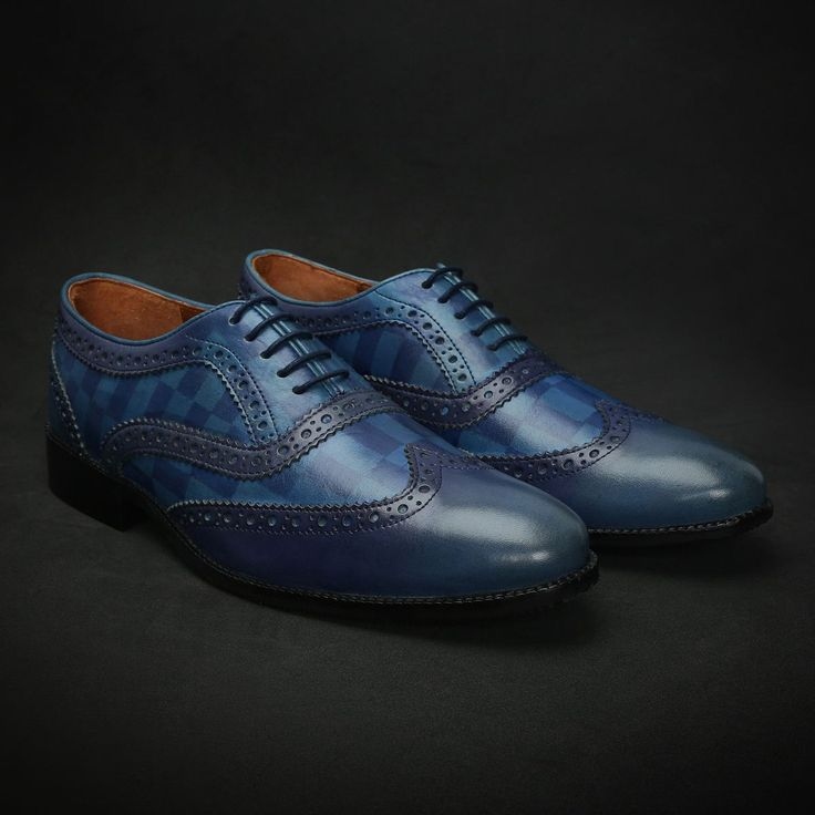 BUY SKY BLUE DUAL SHADE HAND PAINTED LEATHER BROGUE SHOE WITH CHECK DESIGN FOR MEN BY BRUNE