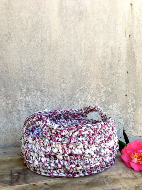 Fabulous Small Crochet Basket with handles storage hamper by ChompaHandmade