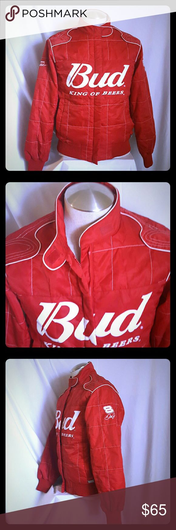 Bud King Of Beers Dale Earnhardt Racing Jacket Nascar Strap over neck Zip up 2 side snap pockets M Made in China  Women   Machine wash 100% polyester  Made in China  Dry clean only   Gently used  Size may vary depending on preference   Great piece for any dale Earnhardt collector, nascar fan or just to be cool   Shipped with care Buy with confidence from us   Please review all pictures and descriptions to verify what you are buying   Thank you for checking out my listings today Chase…