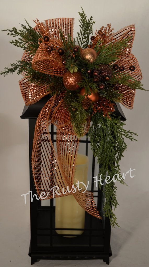 Christmas Lantern Swag with Bronze Mesh Ribbon by TheRustyHeart