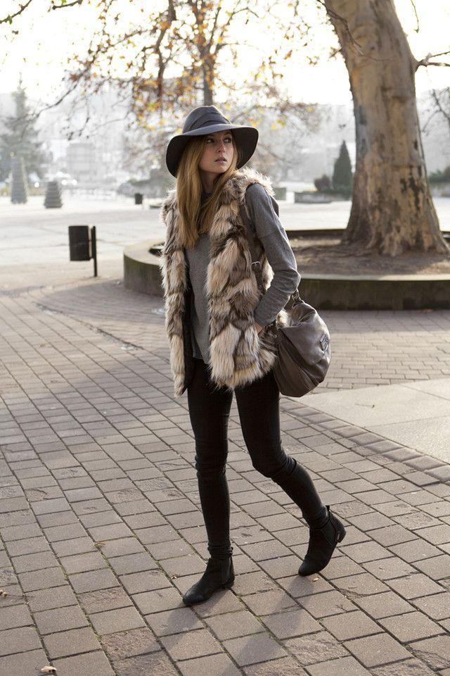 Un estilo para cada día de la semana (15) enero 2014 chaleco pelo sombrero