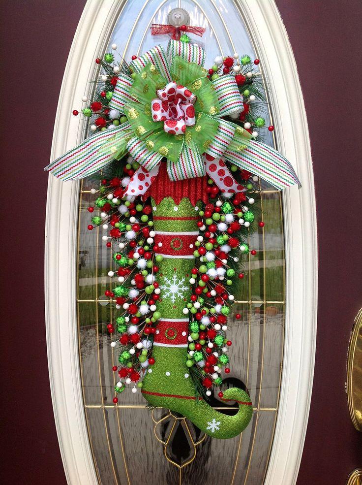 "Christmas Wreath Door Wreath Teardrop Vertical Swag Decor..""Glitter Stocking"". $105.00, via Etsy."