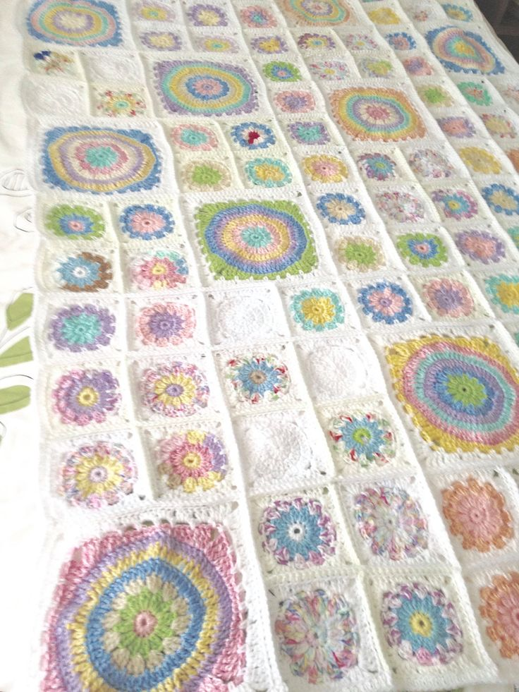 Crochet Pastel Patchwork Circle/Squares Blanket/Throw by PreciousPossums on Etsy