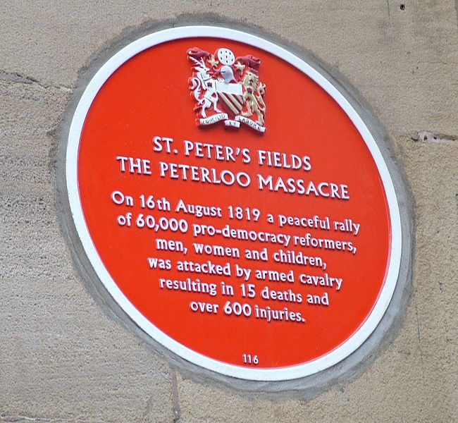 The Peterloo Massacre occurred at St Peter's Field, Manchester in Northwest England in 1819. Cavalry charged into a crowd of around 60,000 people. The end of the Napoleonic Wars in 1815 had resulted in periods of famine and chronic unemployment, exacerbated by the introduction of the first of the Corn Laws. Political radicalism was starting to become popular among ordinary people. .