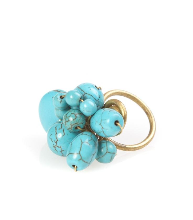 Perlen Ring türkis  von Studio Jux
