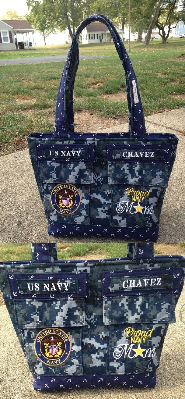 Custom Made Proud Navy Mom Brag Bag http://CustomMadebyLisa.com
