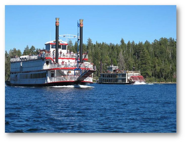 The MS Dixie II and the Tahoe Queen paddlewheelers cruise the crystal blue waters of Lake Tahoe year round.