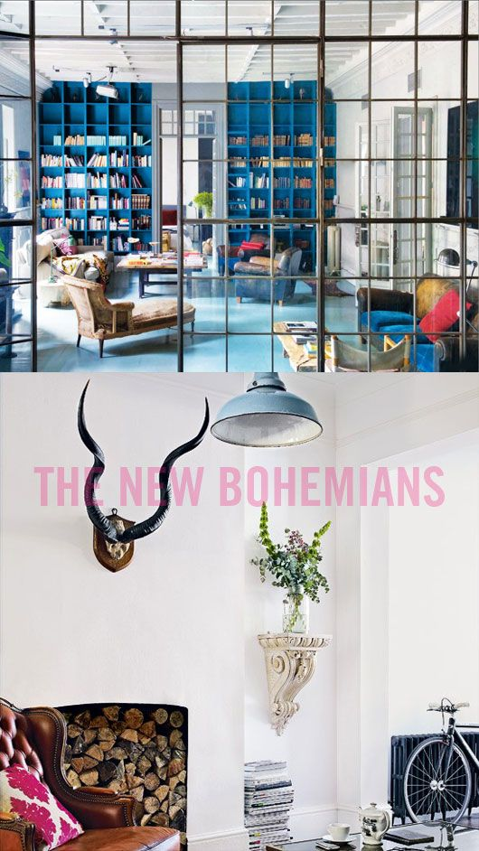 let's focus on the top picture. the blue built-in bookshelves and leaded glass wall and doors are awesome.