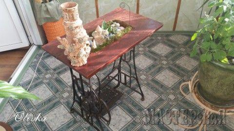 Цветочница из основания старой швейной машинки