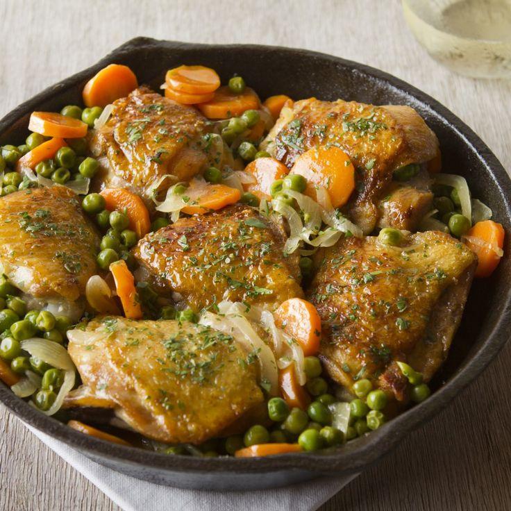 Pollo arvejado. Cocina Chilena
