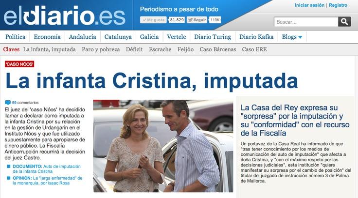 Apertura de la portada de eldiario.es. 3 de abri de 2013.